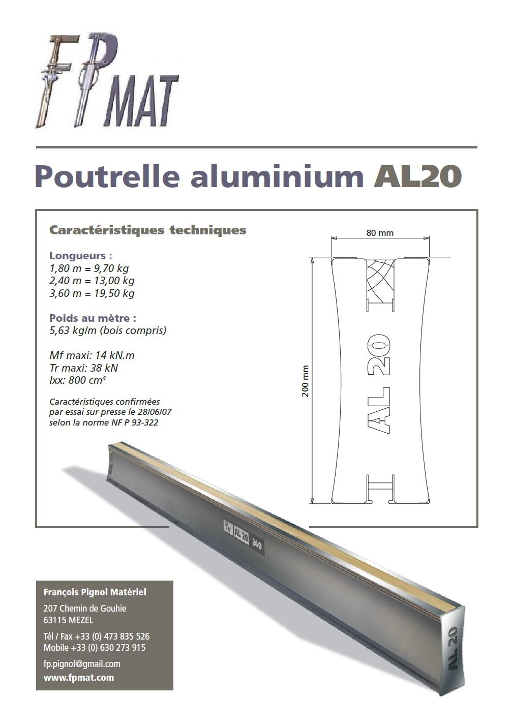 Poutrelle aluminium AL20 FPMAT